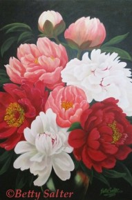 """Peonies"" Acrylic on Canvas."