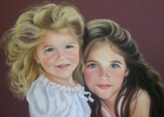 Pastel portrait of two little girls