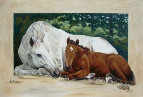 Mare and Foal painted in Oils on canvas