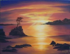 Sunrise landscape painted in oils